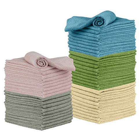 Microfiber Cleaning Cloth, 50 Pack 12 x 16 - for Kitchen, Car, Super Absorbent Cloths - Polishing Shop Rags with Streak Free Finish for Indoor, Outdoor Surfaces - Premium Dusting Huck Towels