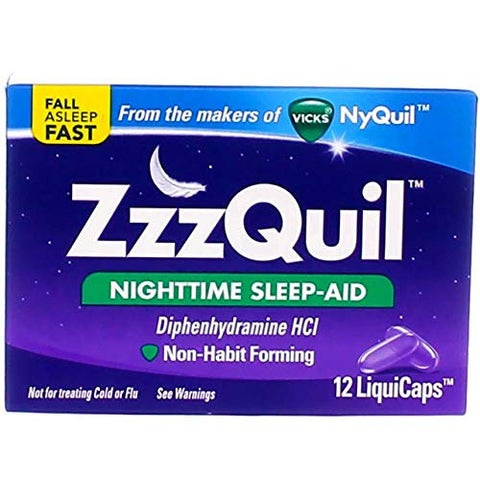ZzzQuil Nighttime Sleep Aid - LiquiCaps - 12 Ct., Pack of 4