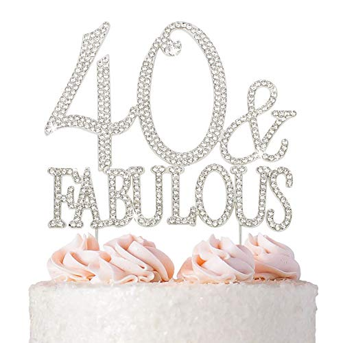 40 Cake Topper - Premium Silver Metal - 40 and Fabulous - 40th Birthday Party Sparkly Rhinestone Decoration Makes a Great Centerpiece - Now Protected in a Box