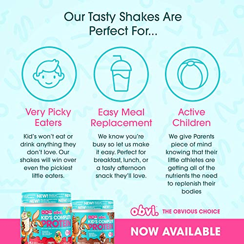 Obvi Kid's Complete Protein, High Protein, Gluten Free, Non GMO, 18 Vitamins & Minerals, Made in USA (Fruity Cereal)