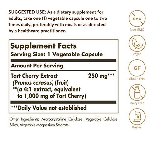 Solgar Tart Cherry 1000 mg, 90 Vegetable Capsules - Antioxidant with Quercetin, Chlorogenic Acid & Anthocyanins Compounds - Non GMO, Vegan, Gluten Free, Dairy Free - 90 Servings