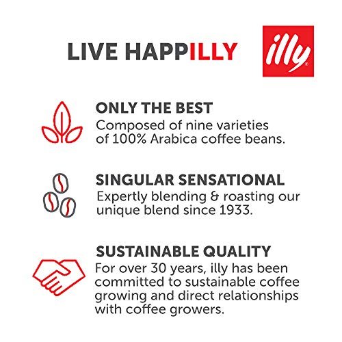 illy Classico Ground Drip Coffee, Medium Roast, Classic Roast with Notes of Chocolate & Caramel, 100% Arabica Coffee, All-Natural, No Preservatives, 8.8oz,