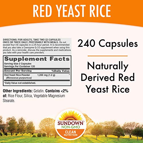 Sundown Red Yeast Rice 1200 mg Capsules (240 Count), Naturally Derived, Gluten Free, Dairy Free, Non-GMO, Free of Gluten, Dairy, Artificial Flavors (Packaging May Vary)