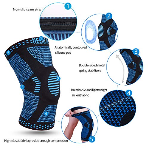 NEENCA Professional Knee Brace,Knee Compression Sleeve Support for Men Women with Patella Gel Pads & Side Stabilizers,Medical Grade Knee Protector for Running,Meniscus Tear,Arthritis,Joint Pain Relief