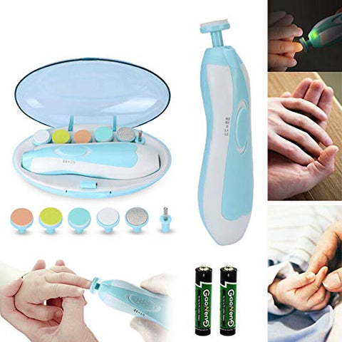 All in one Electric Baby Nail File Clipper Trimmer Toes Nails Care w LED Light