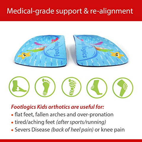 Footlogics Fun Kids Orthotic Shoe Insoles with Arch Support for Childrens Heel Pain (Severs Disease), Growing Pains, Flat Feet - Childrens, Pair 3/4 Length (Small Kids 11-13, Blue)