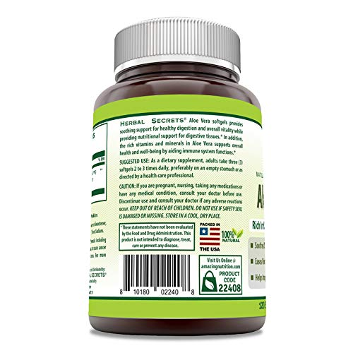 Herbal Secrets Aloe Vera Natural Dietary Supplements, 120 Softgels, 5000 Mg