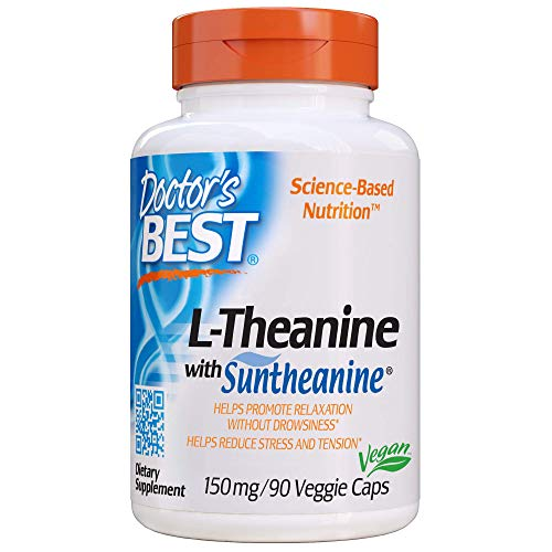Doctor's Best L-Theanine Contains Suntheanine, Helps Reduce Stress & Sleep, Non-GMO, Gluten Free, Vegan, 150 mg 90 Veggie Caps (DRB-00197)
