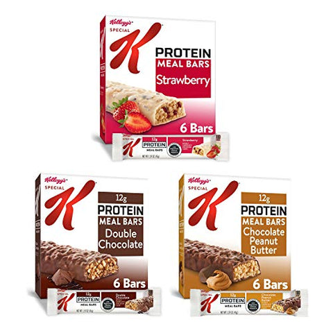 Kellogg's Special K Protein Meal Bars - 3 Flavored Variety Pack, Office or School Meal Replacement or Snacks (Case contains 18 Count)