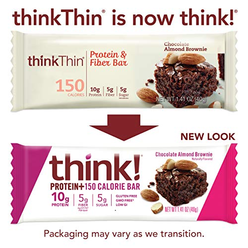 think! Protein+ 150 Calorie Bars 10g Protein, 5g Sugar, No Artificial Sweeteners, Gluten GMO Free, (1098182), Chocolate Almond Brownie, 14.1 Ounce