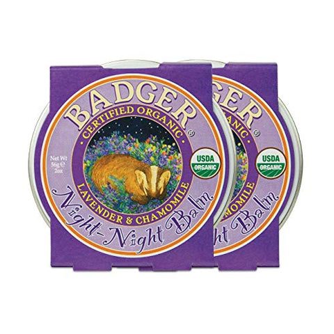 Badger - Night Night Balm, Chamomile & Lavender, Natural Sleep Balm for Kids, Scented Relaxing Balm for Children, Kids Organic Sleep Balm, 2 oz (2 Pack)