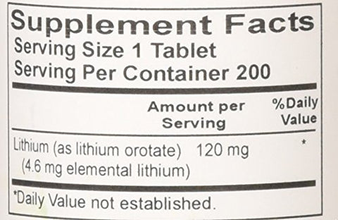 Nutrient Carriers Advance Research Lithium Orotate 120 Mg 200 Tablets(Pack of 2)