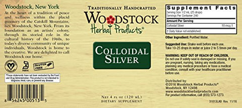 Woodstock Herbal Products, Colloidal Silver, 4 Ounce