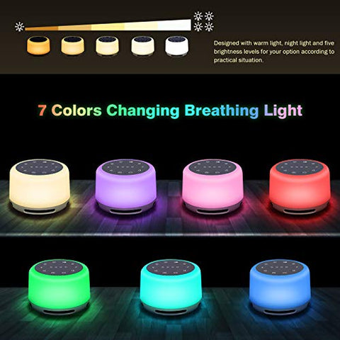 Sleep Sound Machine 24 Natural Soothing Sounds 7 Color Breathing Lights and Night Light with Timer Memory Feature Rechargeable Portable White Noise Machine for Baby Kids Adults