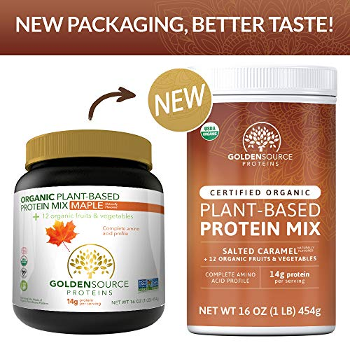 GoldenSource Proteins, Organic Plant-Based Protein, Salted Caramel, 1 Pound, 18 Servings, 22 Vitamins & Minerals, Complete Amino Acid Profile, Free from Gluten, Soy, Dairy & Peanut, no Added Sugar