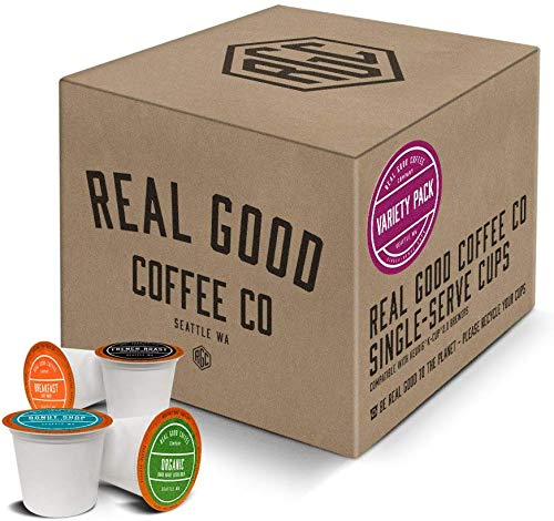 Real Good Coffee Co Variety Pack Recyclable Coffee Pods, K-Cup Compatible including Keurig 2.0 Brewers, 36 Count