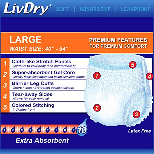 LivDry Protective Underwear Large Size Super Absorbent Count: 18
