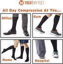 Image of Knee High Compression Socks for Women & Men, 15-20 mmHg - Edema Pain Relief - Nurse, Travel, Pregnancy & Running Comfort - Lightweight Graduated Nursing Sock - Knee High Stockings, Black S