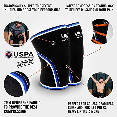 Mava Sports Knee Compression Sleeve Support for Men and Women with Perfect 7mm Neoprene Material for Powerlifting, Weightlifting, Body Building, Gym Workout, WOD and Squats (Black, Small)