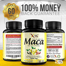 Image of Organic Maca Root Powder Capsules Black, Red, Yellow - 150 Vegan Pills - 1500mg Strongest Peruvian Maca Gelatinized for Energy, Performance, Mood for Men and Women w/Black Pepper for Best Benefits