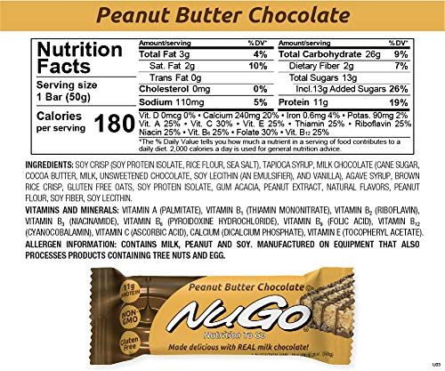 NuGo Protein Bar, Peanut Butter Chocolate, 11g Protein, 170 Calories, Gluten Free, 15 Count