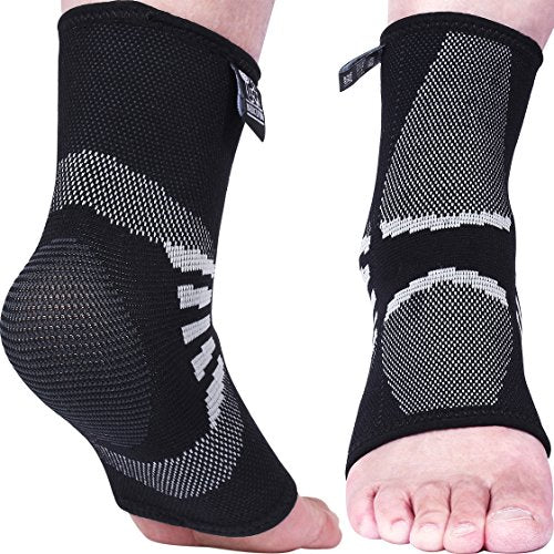 Nordic Lifting Ankle Compression Sleeves (1 Pair) - Support for Injury Recovery & Prevention - 1 Year Warranty (Grey, Small)