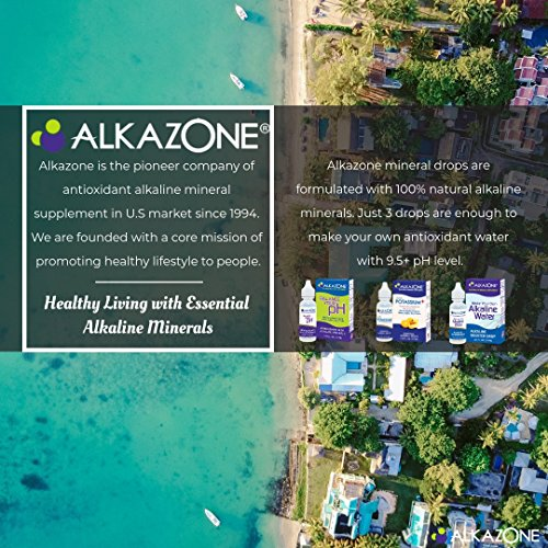 ALKAZONE Balance Your pH, Antioxidants Alkaline Mineral Drops, Single 1.25 Oz Pack, Portable, Yields 10 Gallons of alkaline, antioxidant Water, Unflavored, pH Balance, Hydration