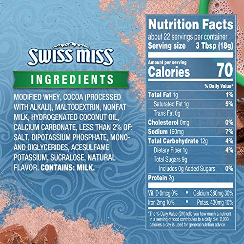 Swiss Miss Milk Chocolate Flavor No Sugar Added Hot Cocoa Mix Canister, 13.8 oz. (Pack of 12)
