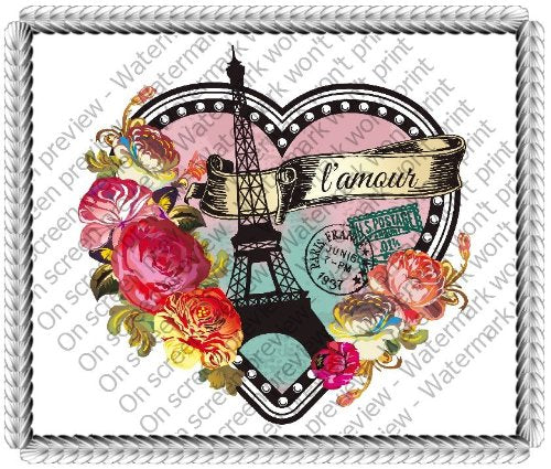 "8"" Round ~ Paris Valentine's Day Heart ~ Edible Cake/Cupcake Topper - D1451"