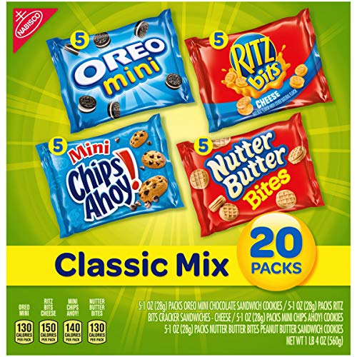 Nabisco Classic Mix Variety Pack, OREO Mini, CHIPS AHOY! Mini, Nutter Butter Bites, RITZ Bits Cheese, 20 - 1 oz Snack Packs
