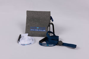 mask strap attachment kit with carabiner white and navy