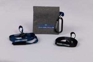 mask strap attachment kit with carabiner black and navy