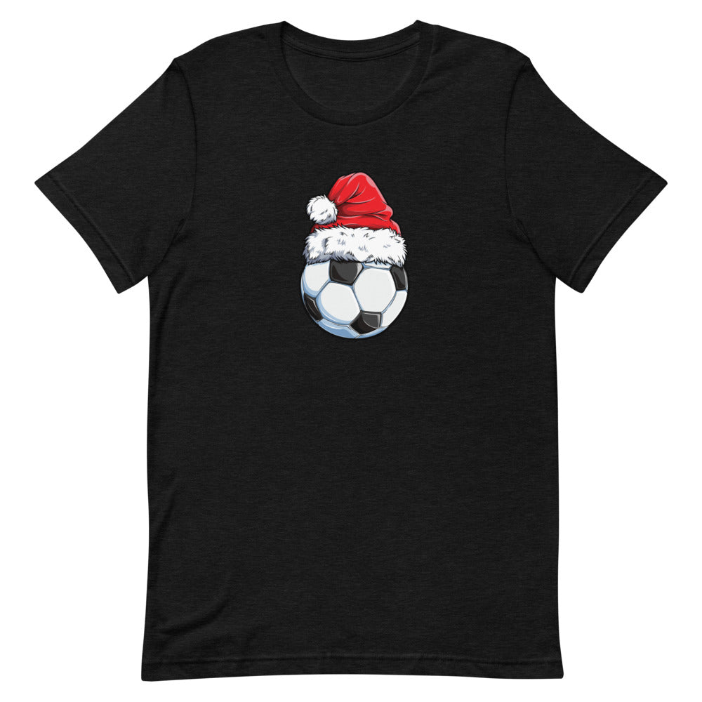 Christmas Soccer Ball Santa Hat Funny Sport Xmas Boys Kids T-Shirt