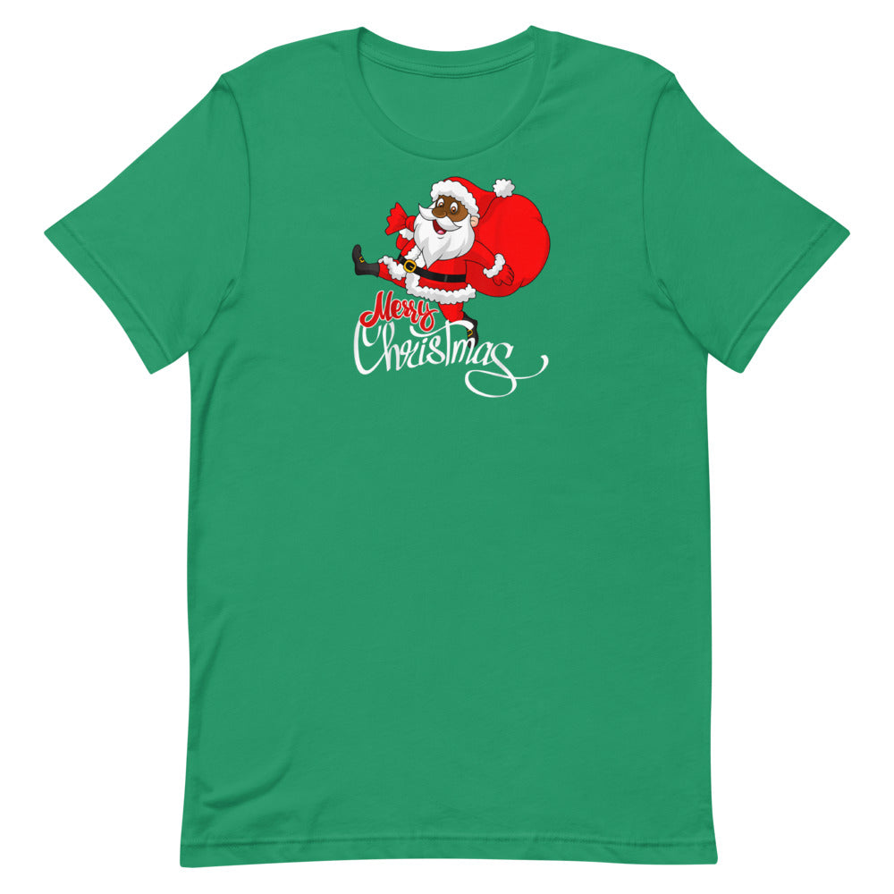 Cute Black Merry Christmas Santa T-Shirt  Unisex T-Shirt