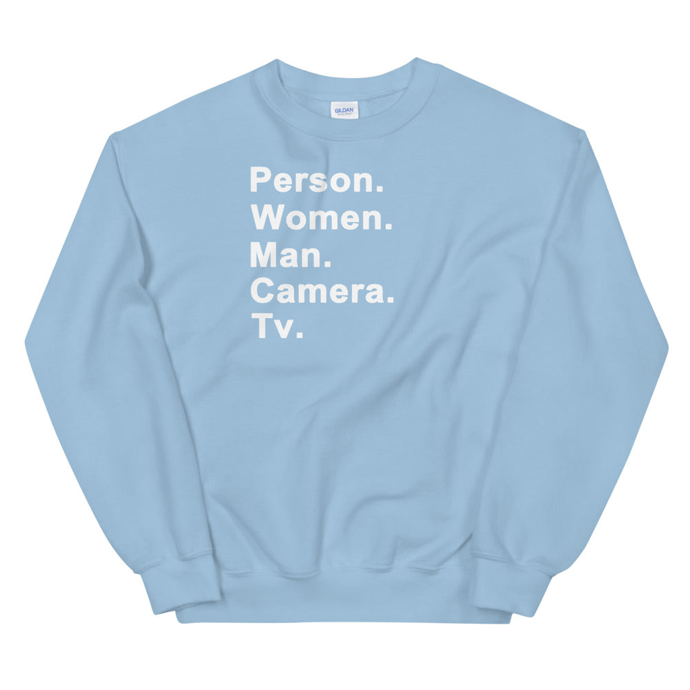Person. Women. Man. Camera. Tv. Sweatshirt