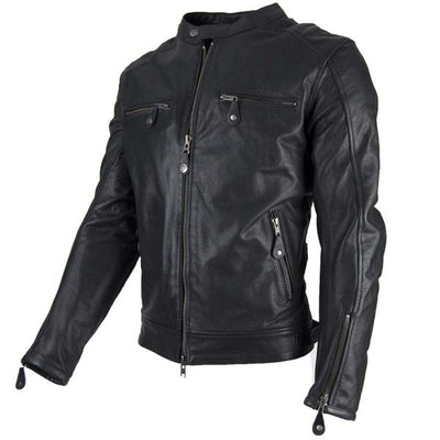 classic black leather motorcycle jacket for men at dude bikes
