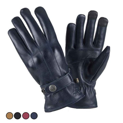 blue leather motorcycle gloves for men at dude bikes