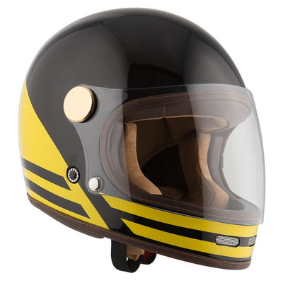 By City Roadster II Black/Yellow Motorcycle Helmet from Dude Bikes