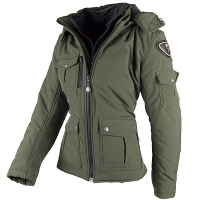 green winter motorcycle jacket for women