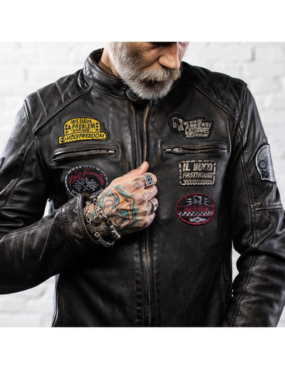 Holyfreedom leather jacket for motorcycle use. Available at Dude Bikes Riga, Latvia.
