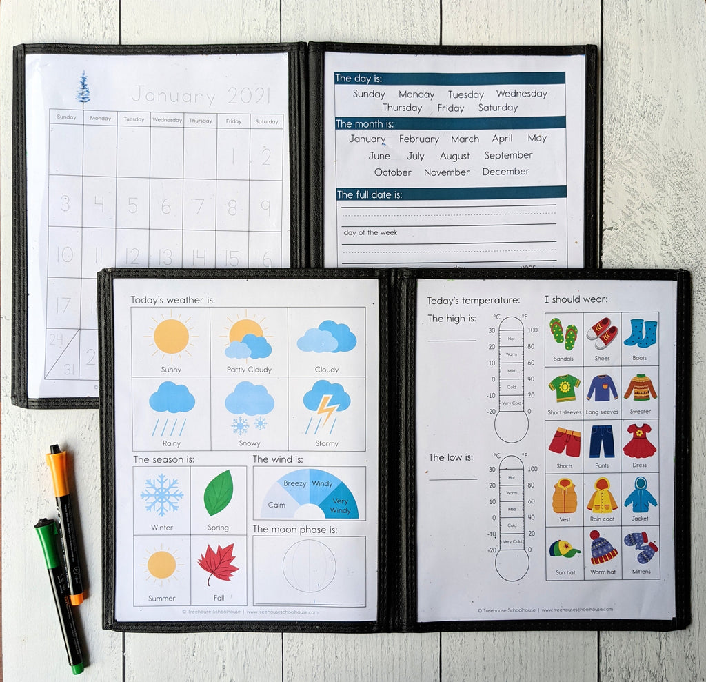 Morning Time Traceable Calendar and Weather Chart