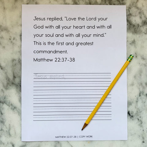 Scripture Copy Work Activity