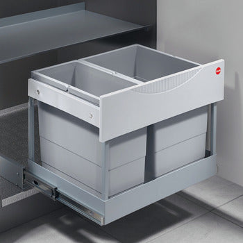 Two compartment waste bin with follower, 1 x 12 and 1 x 18 litres,