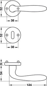 Door handle set , aluminium, Hoppe, Verona 1510/42KV/42KVS