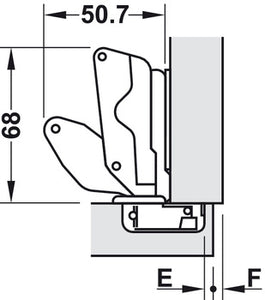 Concealed hinge 175°,soft close- full overlay mounting