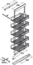 Load image into Gallery viewer, Larder unit pull-out, steel, installation behind fronts, baskets 4 or 5 baskets, front stabiliser