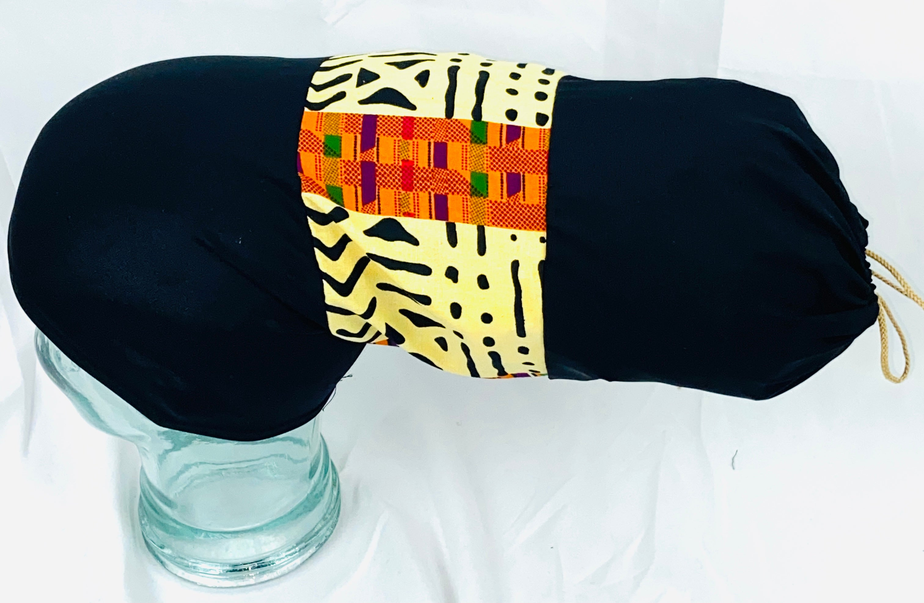 Silky Stretchy Custom Headcovering with Bone Kente Design.