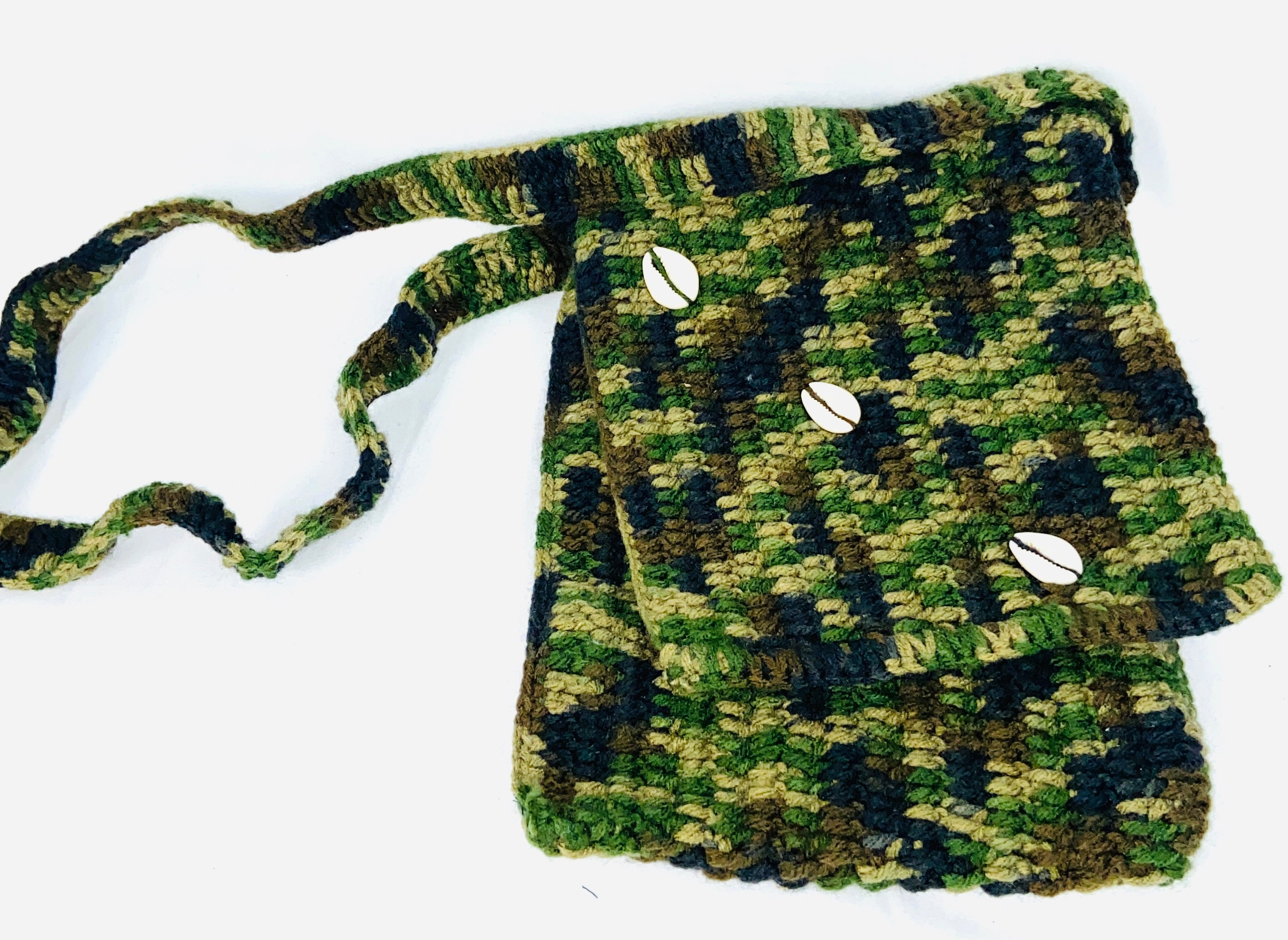Hand-woven, Camo Purse with Cowrie Shells