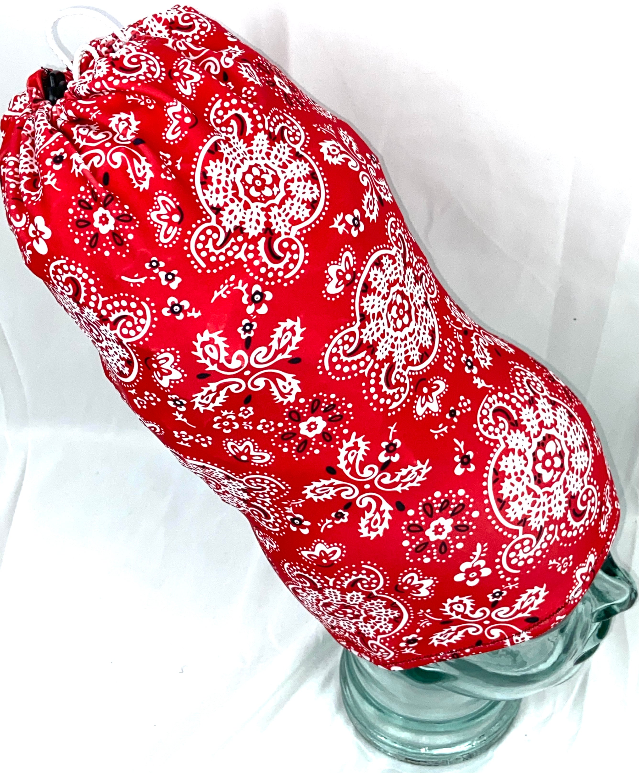 Stretchy headcovering Red Paisley
