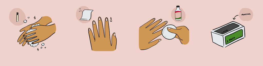 Steps to a manicure - wash hands, prep & clean